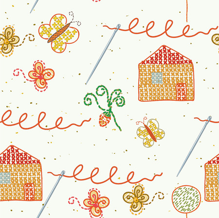 Seamless embroidery pattern with needles Vector
