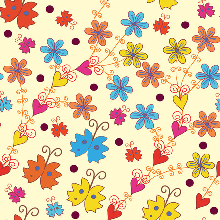 Seamless pattern with flowers and butterflies Stock Vector - 8276327