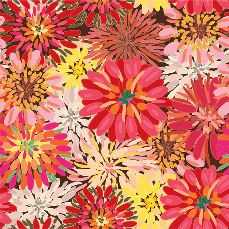chrysanthemums: Seamless ornate floral pattern with herberas