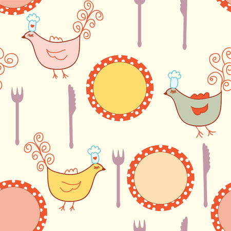 Seamless cooking pattern with plates and birds Vector