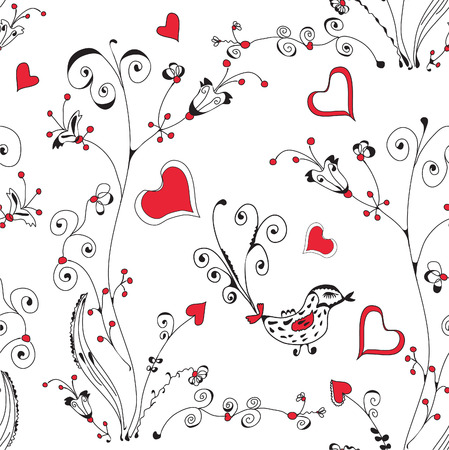 Seamless floral romantic pattern with hearts Vector