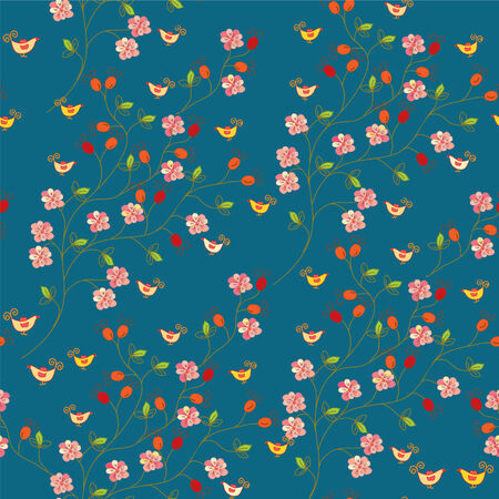 small flowers: Seamless floral pattern with hips and birds