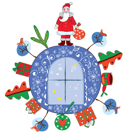 Christmas decoration with santa claus and present Vector