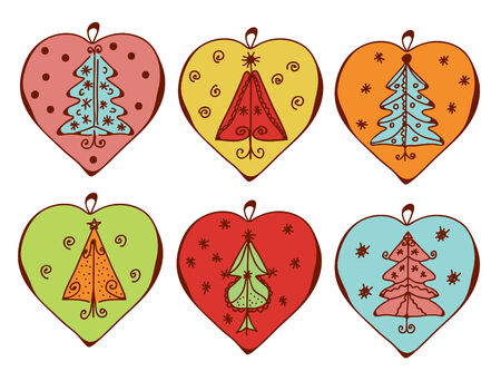 Christmas decorations with trees set Vector