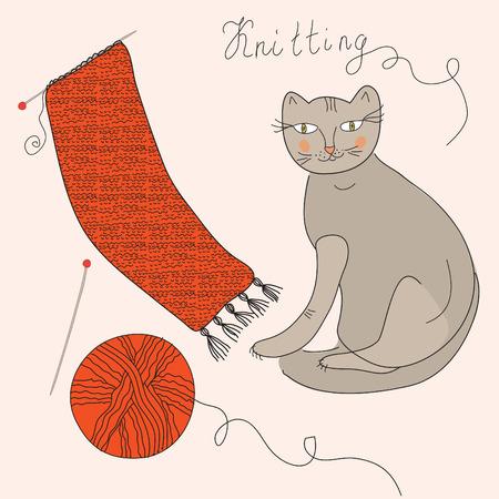 rekodzielo: Szycie ustawić z kulkowe, szalik i kot Ilustracja