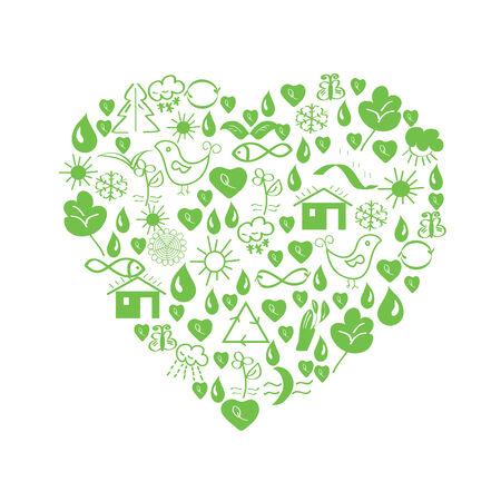 Green environmental heart with symbols Stock Vector - 8356981