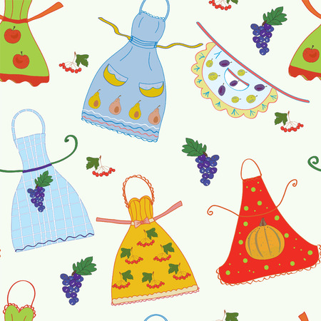 Seamless pattern with aprons and fruits Stock Vector - 8356843
