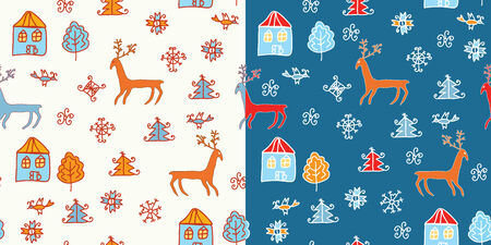 Funny holidays christmas pattern set Vector