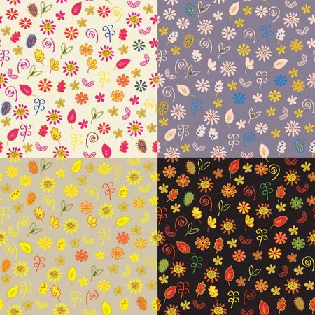 Floral autumn seamless patterns set Vector