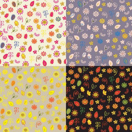 Floral autumn seamless patterns set Vector