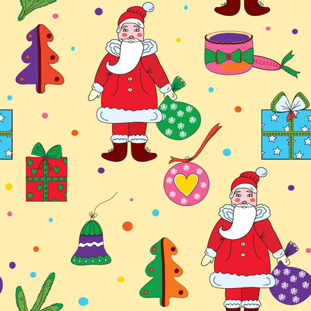 Seamless christmas pattern with santa klaus and presents Stock Vector - 8356990