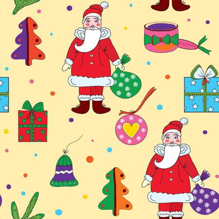 klaus: Seamless christmas pattern with santa klaus and presents Illustration