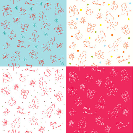 Christmass funny seamless patterns set Vector