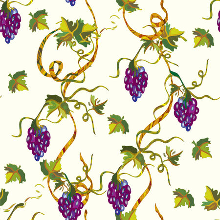purple grapes: Seamless floral pattern with grape and leaves