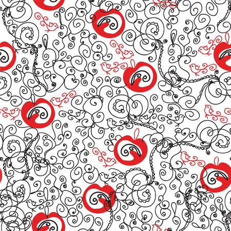 원활한 화려한 빨간색과 검은 색 패턴