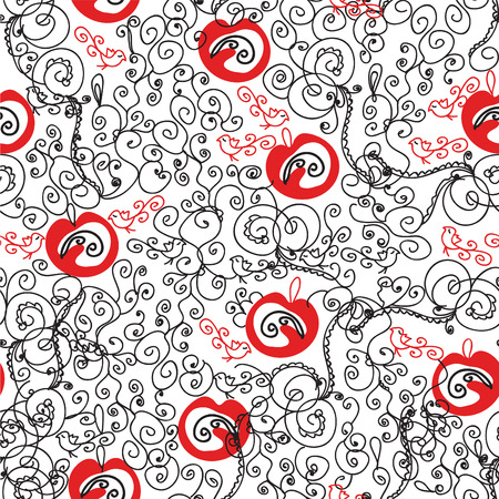 Seamless ornate red and black pattern Stock Vector - 8356992