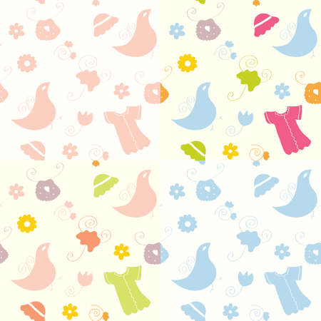 Baby seamless patterns set for girl and boy Stock Vector - 8357004