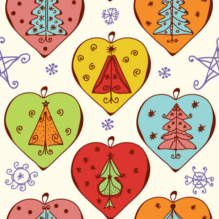 Seamless christmas pattern with decorations, snow and trees Stock Vector - 8357006