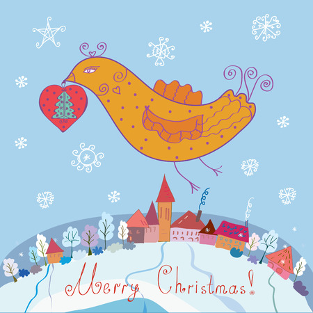 Christmas card with bird and town Vector