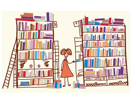 many hands: Library cartoon with child and many books