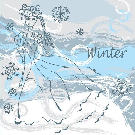 wintermode: Winter-Mode-Card mit Girl Hintergrund
