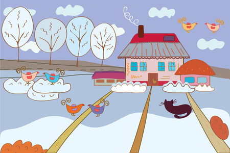 rural home: Winter fairytale landscape with birds cartoon