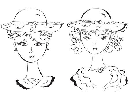 Retro woman in hats sketch