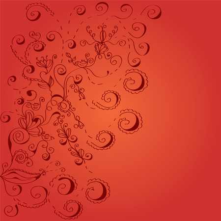 Floral red swirls background in romantic style Stock Vector - 8506915