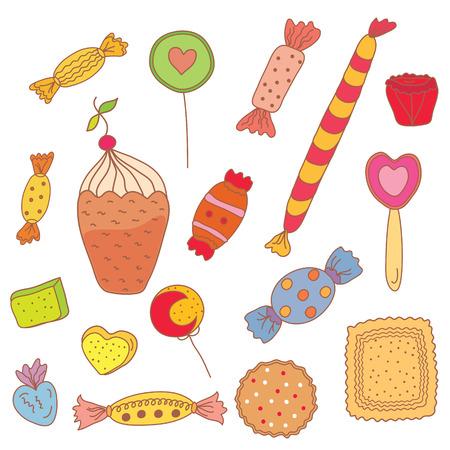 Sweet set of candies, cookies, icecream Stock Vector - 8540555