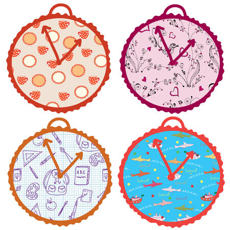 Concept clocks set cartoon Vector