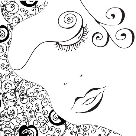 vintage look: Abstract woman face with swirl pattern card