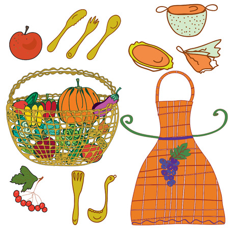 Kitchen set with crockery and vegetables, fruits Stock Vector - 8540583