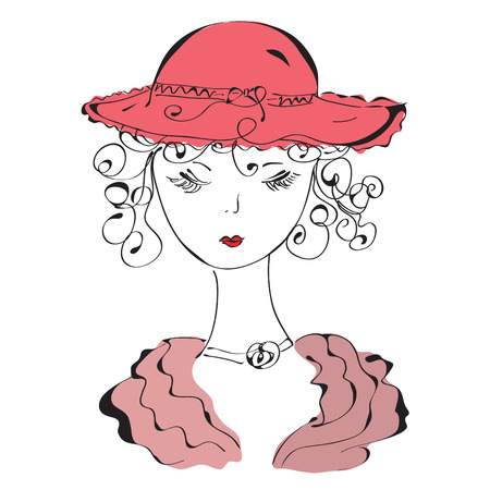 red hat: Retro lady in hat sketch