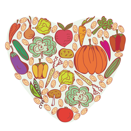 pumpkin tomato: Heart of vegetables symbol Illustration