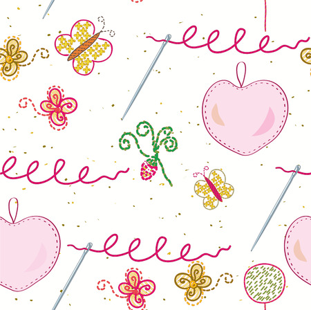 Seamless sewing and embroidery pattern Vector