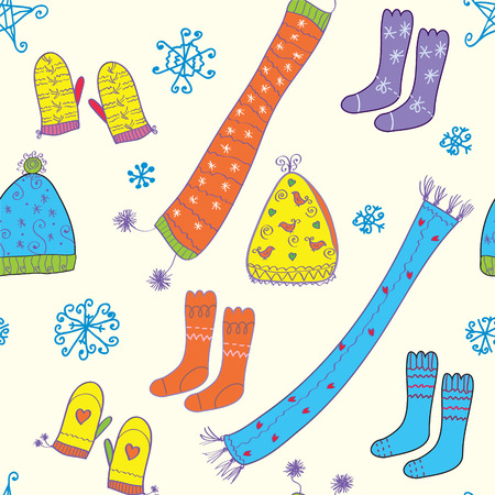 Seamless winter pattern with hats, socks, scarfs Vector