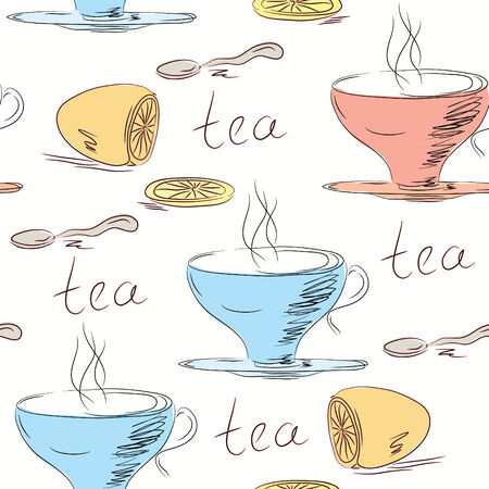 Seamless pattern with tea cups and lemon Vector