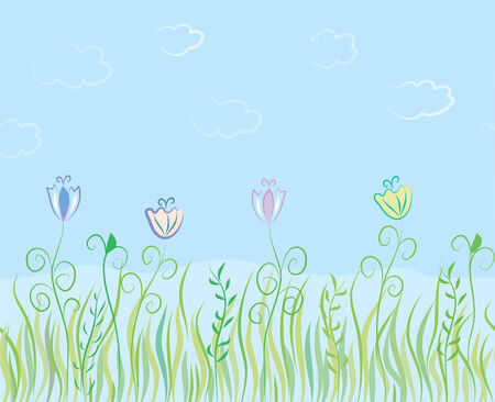 Grass seamless border with sky  Vector