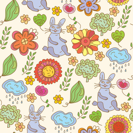 Floral seamless funny pattern with hare Stock Vector - 8595739