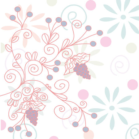 Romantic background with grape and flowers Vector