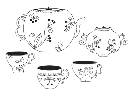 Set of cups and pot with floral pattern Stock Vector - 8595723
