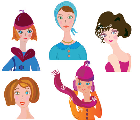 Women icon funny color set  Stock Vector - 8595742