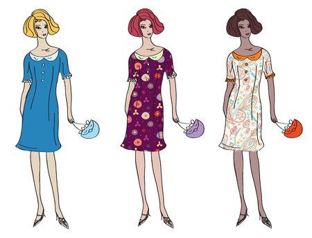 set of girls in pattern dresses Stock Vector - 8595740