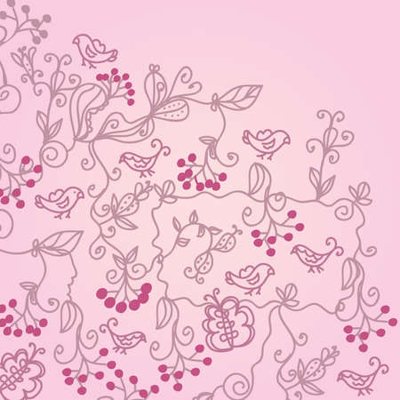 Romantic greeting valentine floral background Stock Vector - 8665979