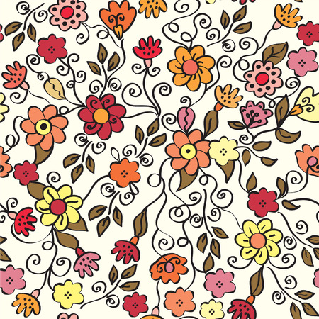 Floral ornate seamless pattern in bright colors Vector