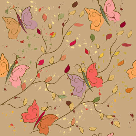 Seamless fall pattern with butterflies and leaves Vector