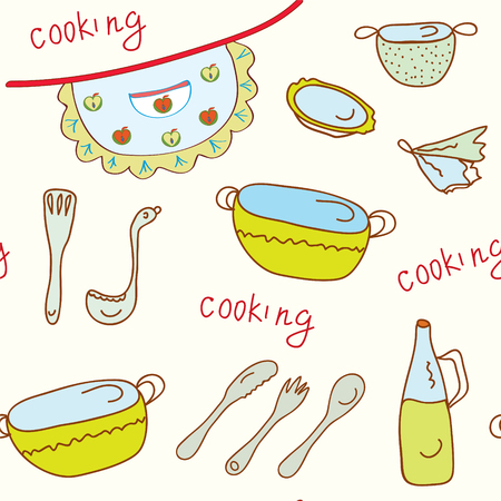 stew pot: Coooking object funny seamless bright pattern  Illustration