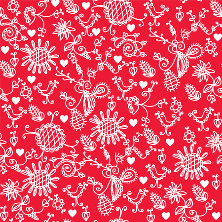 Romantic red seamless pattern with hearts Vector
