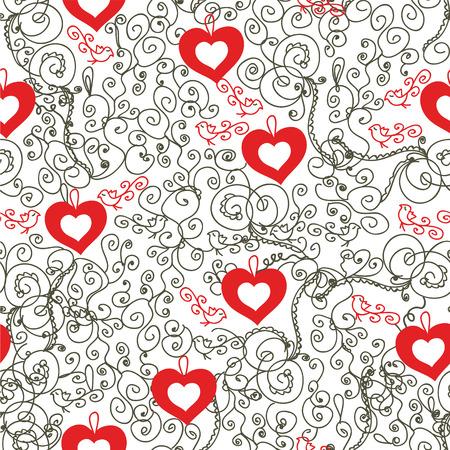 발렌타인 로맨틱 빈티지 원활한 패턴 일러스트