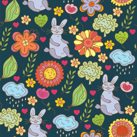 Easter funny pattern with hare and flowers Vector